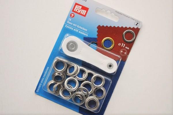 Prym - Ösen mit Scheiben, 11mm, silber