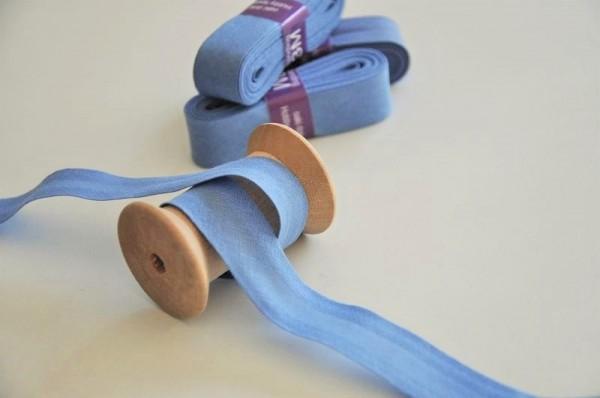Baumwoll Schrägband 3 Meter - uni, blau, 20mm breit - 100% Baumwolle