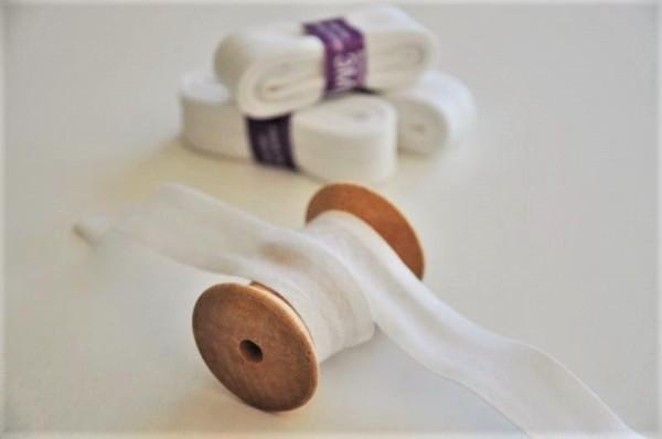 Baumwoll Schrägband 3 Meter - uni, weiß, 20mm breit - 100% Baumwolle