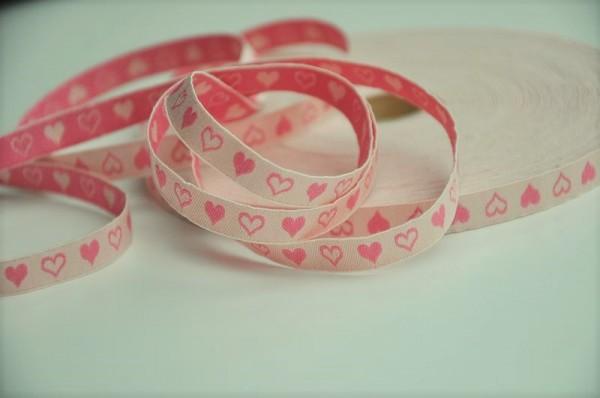 Baumwoll Webband schmal - Herzen, rosa
