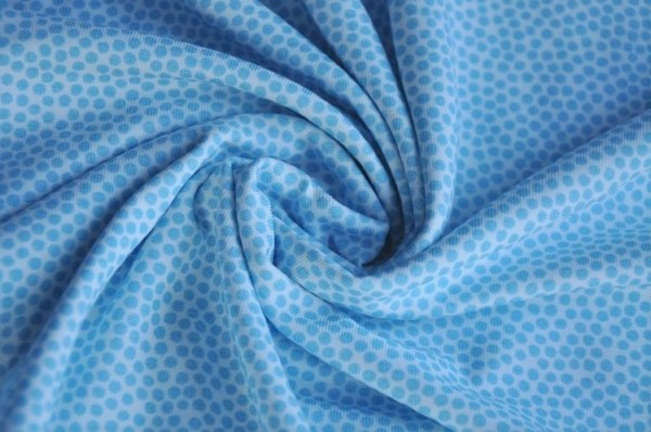 Hilco Jersey - Market Dots, sky blue - 95% Baumwolle, 5% Elasthan, Kinderstoff, punkte, blau