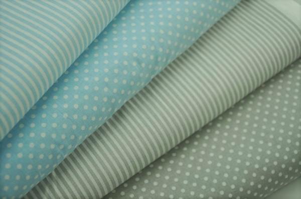 Basics-Stoffpaket - Punkte & Streifen, hellbau/grau