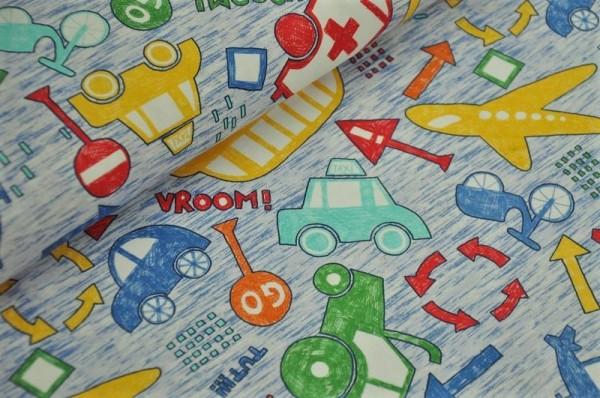 Hilco Jersey - Trafic Line, Fahrzeuge - 90% Baumwolle, 10% Elasthan, typisch Jungen, Kinderstoff