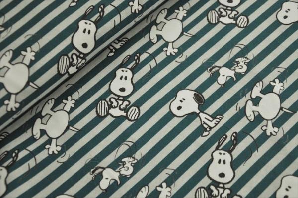 Bio Jersey - Snoopy Streifen, grau/dunkelgrün - 93% Baumwolle (kba), 7% Elasthan