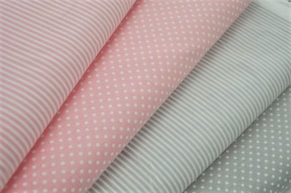 Basics-Stoffpaket - Punkte & Streifen, rosa&grau