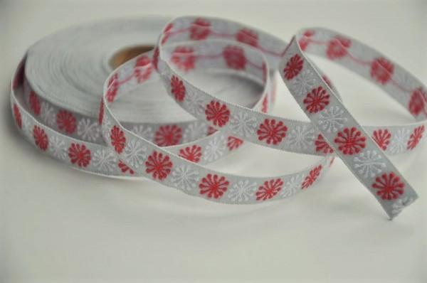 Baumwoll Webband - Blumen grau