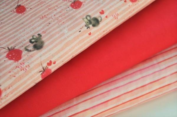Bio Stoffpaket - Webware - Erdbeere - 100% Baumwolle, Kinderstoffe