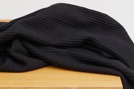 Ottoman Knit - uni, black - 84% Viscose, 14% Nylon, 2% Elasthan, meetMilk nachhaltige Stoffe, Strickstoff, Herbststoffe