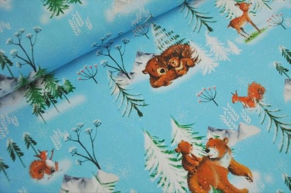 Lillestoff Bio Summersweat - Tiere im Winterwald