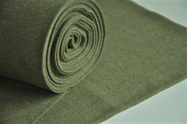 Bio-Bündchen glatt - olivegrün-meliert - 98% Baumwolle (kba), 2% Elasthan, Bio Stoffe Meterware