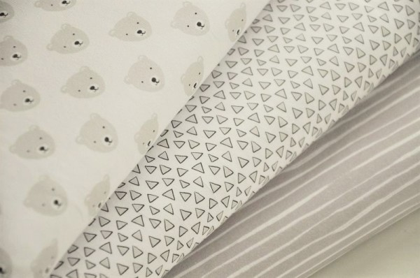Bio-Stoffpaket Jersey - Oso - Stoffe für Babies, Kinderstoffe, Grau, Weiß, Lillestoff