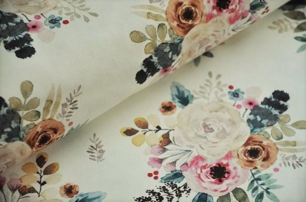Hilco Sweat - Romance Watercolor - angeraut, French Terry, Damenstoffe, Herbststoff, romantisch Blumen